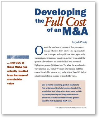 Developing the Full Cost of an M&A Cover